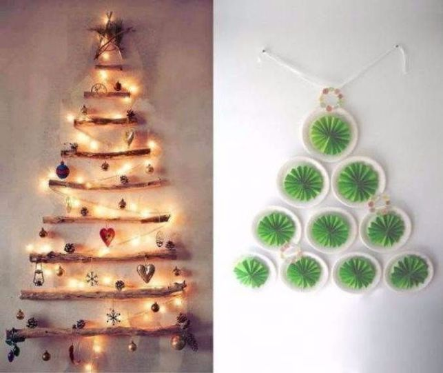 wall christmas tree ideas17 - Homemade Christmas Tree Decoration Ideas