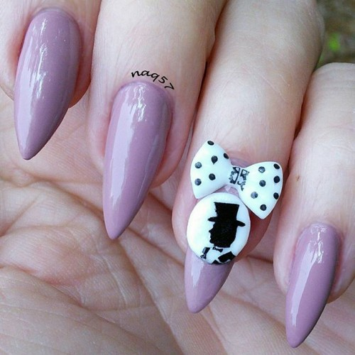 40 amazingly creative stiletto nails designs to try ecstasycoffee beautiful stiletto nail art with bow prinsesfo Image collections
