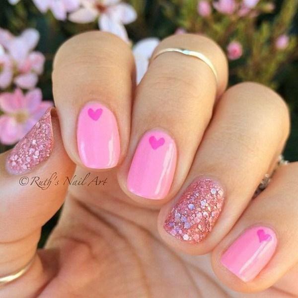 37 Cute Valentine Day Pink Nail Art Design Ideas