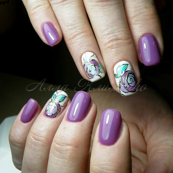 47 gorgeous rose nail art designs for summer ecstasycoffee beautiful white and violet rose nail art design prinsesfo Choice Image