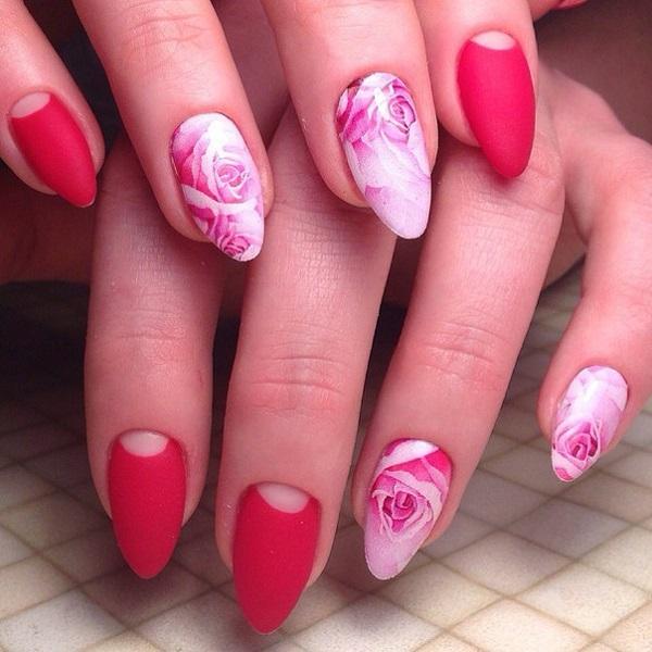gorgeous rose nail art design
