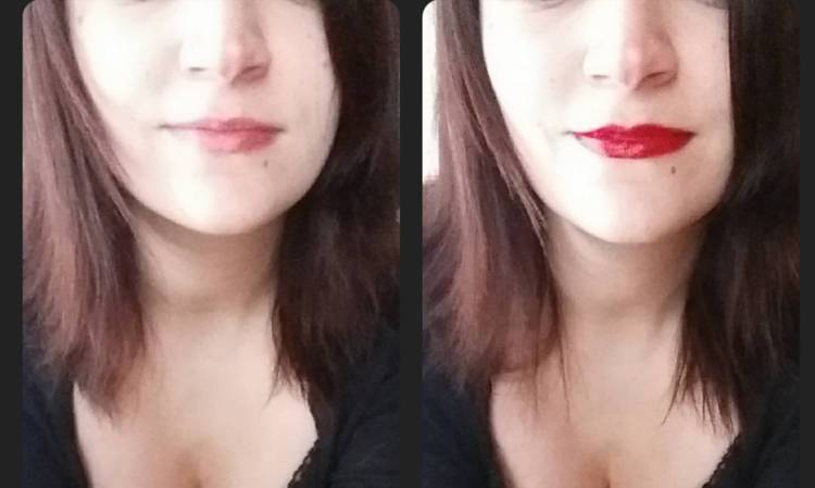 How differently a mouth with and without # lipstick can look