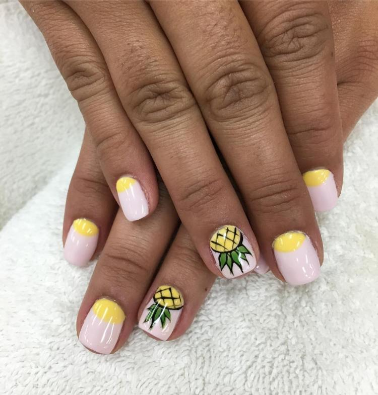 stunning yellow nail art design