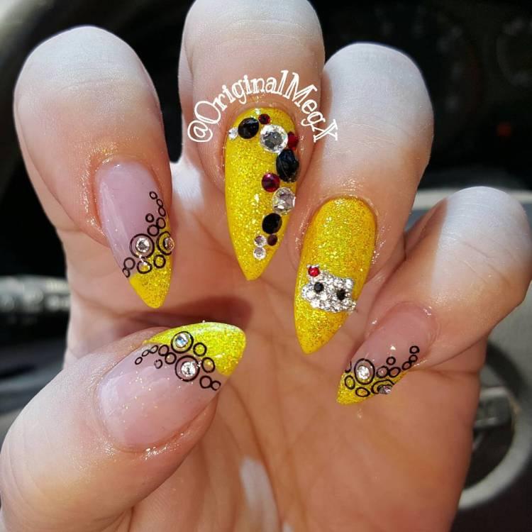 stunning yellow nail art design