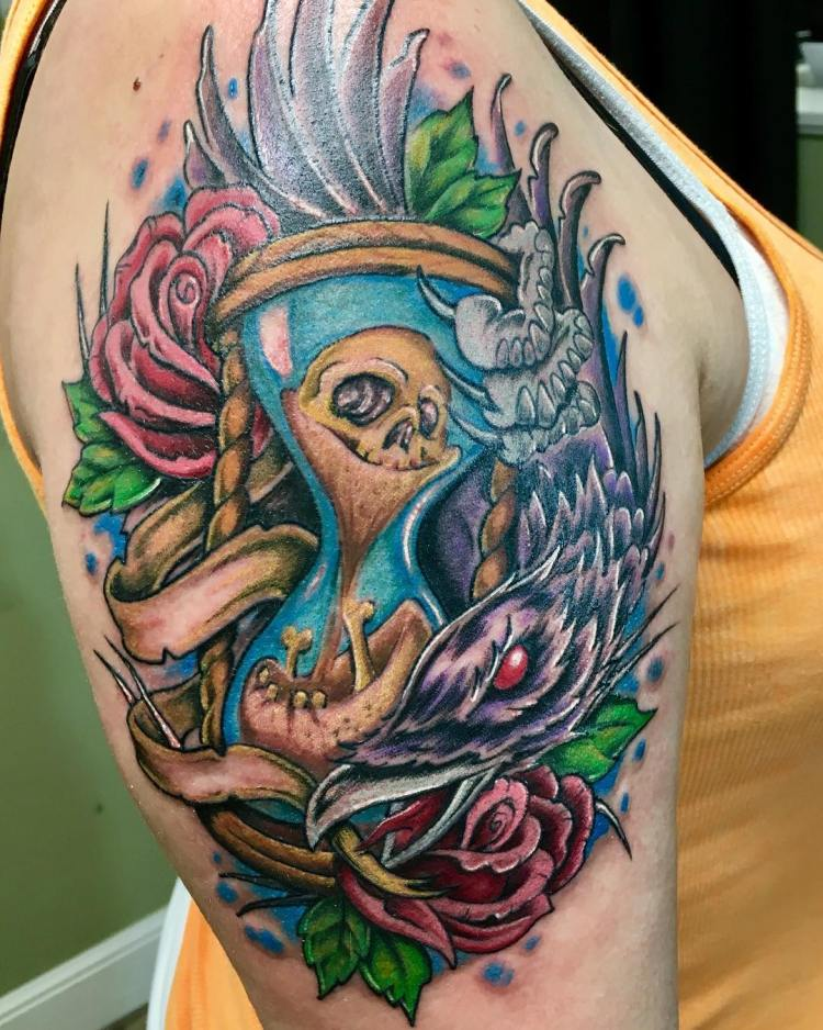 40 creatively explore the eternal passage of time with for Skull hourglass tattoo