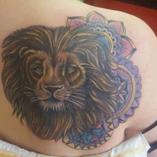 Another lion from Jamie this time with color and Mandalas! #roctattoos #upstatetattoo #customtattoos #liontattoos #jamiecole #mandalatattoo #mandala
