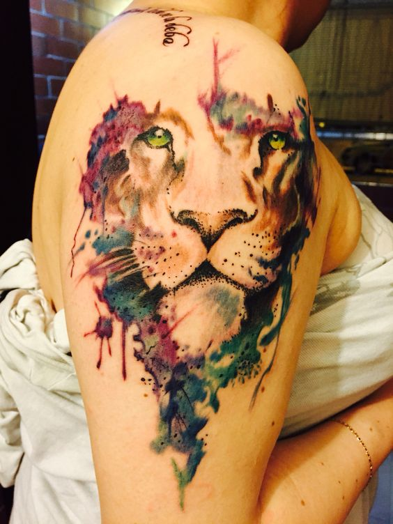 Watercolor lion tattoo idea