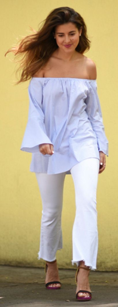 BTS Blue Blouse + White Denim