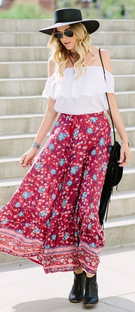 BTS White Top + Bohemian Maxi Skirt