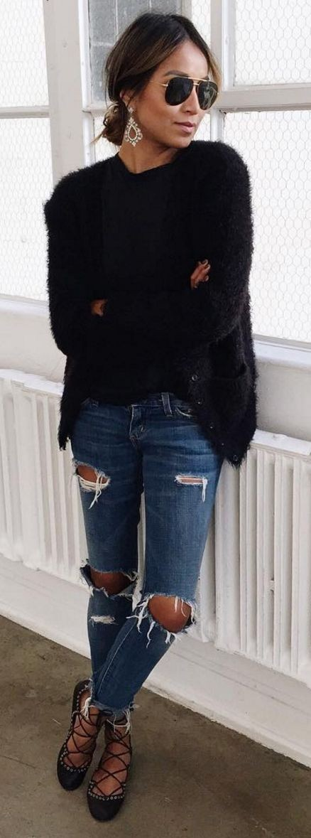 Black Fuzzy Knit + Ripped Denim