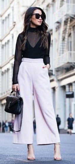 Black Sheer Top + Lavender Wide Leg Trousers