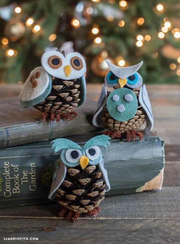 Felt And Pinecone DIY Owl Ornaments via Lia Griffith