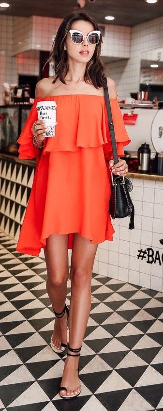 Orange Ruffle Off Th eShoulder Summer Dress