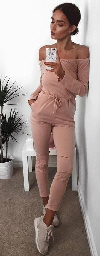 Pink Off the Shoulder Jumpsuit