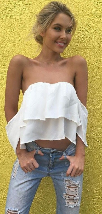 White Off The Shoulder Top + Jeans