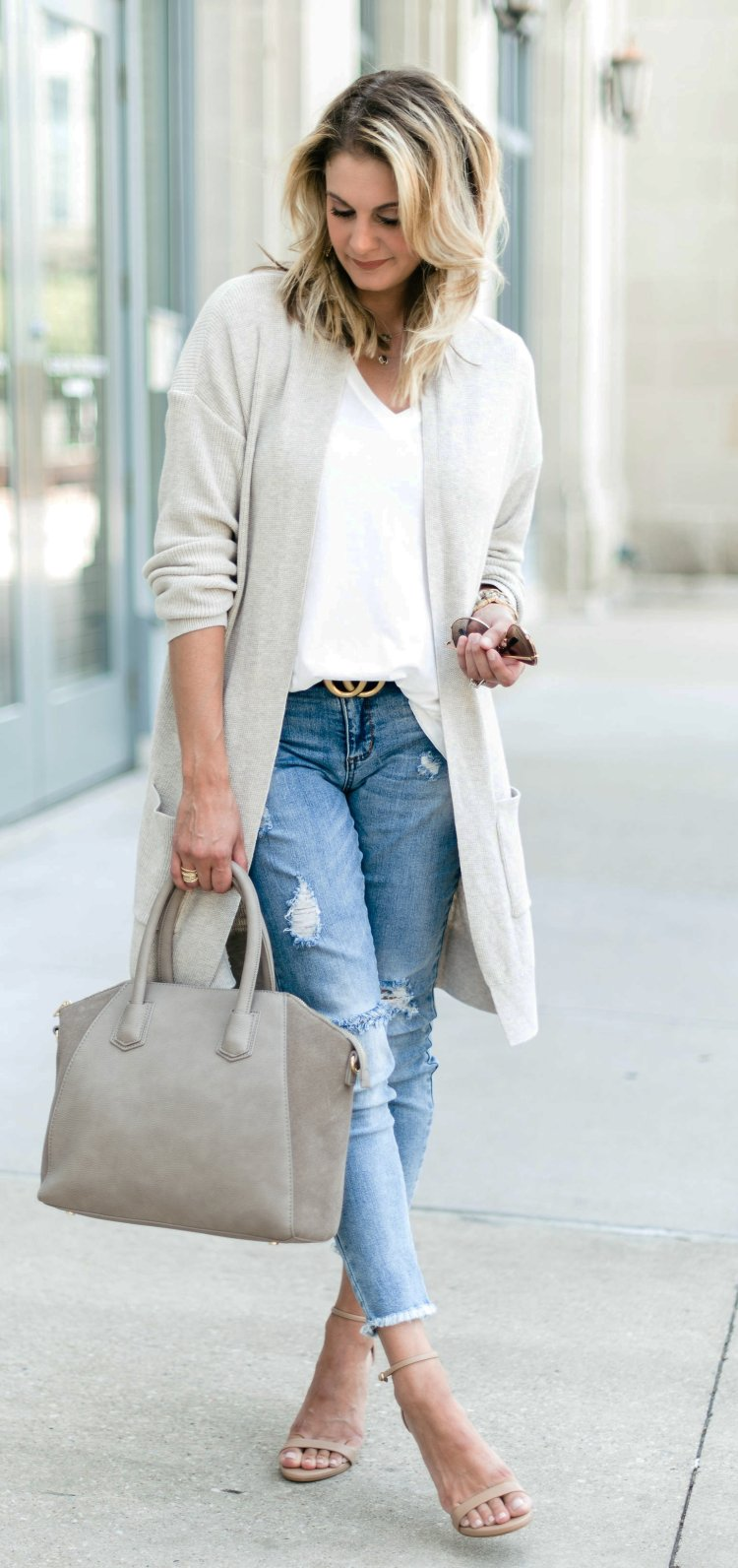 Best Fashion - Blue And White Cardigan