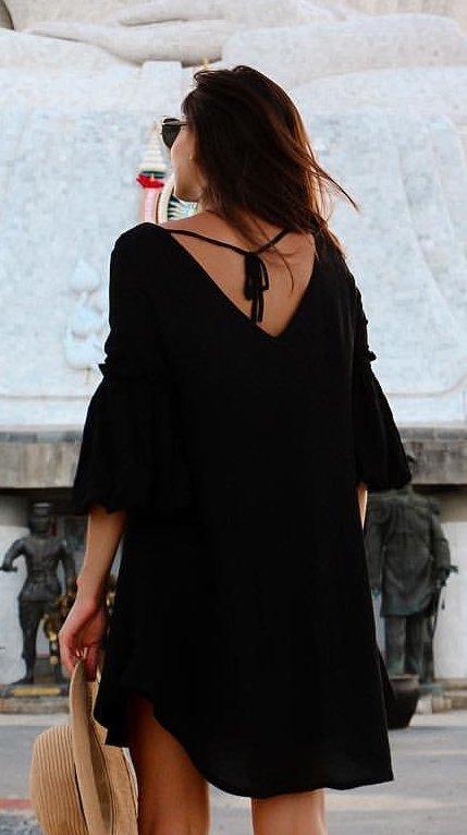 Black Dress + Light Hat