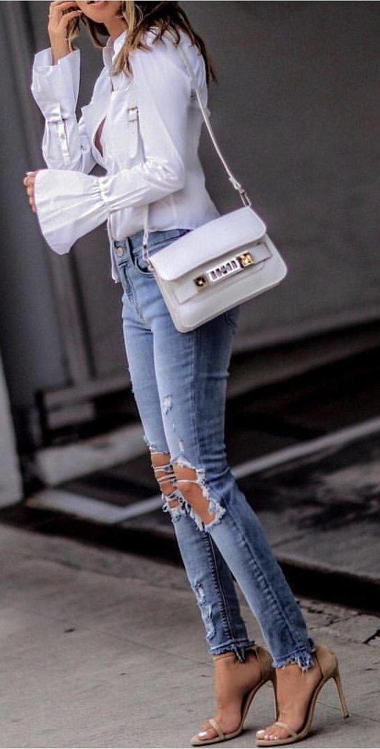 Blue Blouse + Destroyed Skinny Jeans