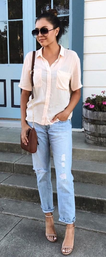 Blush Blouse + Ripped Jeans