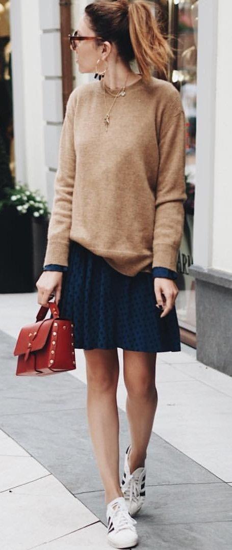Brown Knit + Black Skirt + White Adidas Sneakers