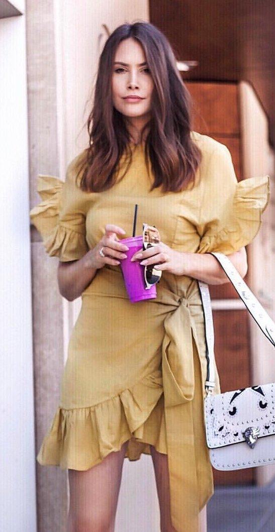 Mustard Ruffle Wrap Dress