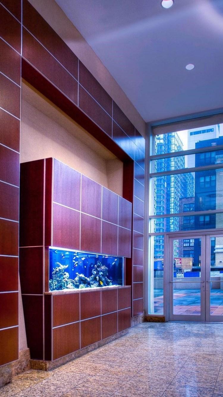 Reef aquarium in residential lobby
