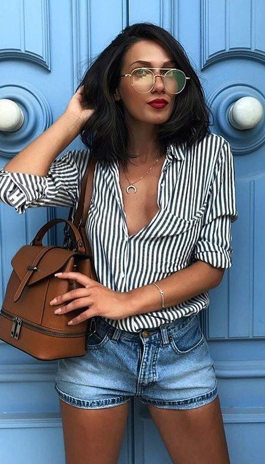 Striped Blouse + Denim Short