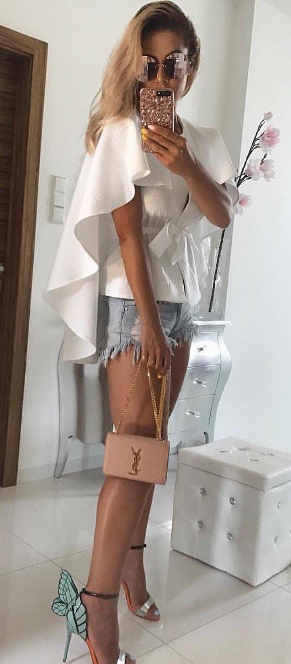 White Bow Top + Ripped Denim Short