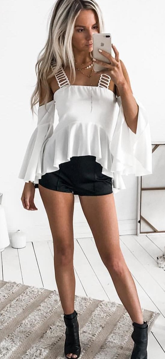 White Cold Shoulder Top + Black Short + Black Open Toe Booties