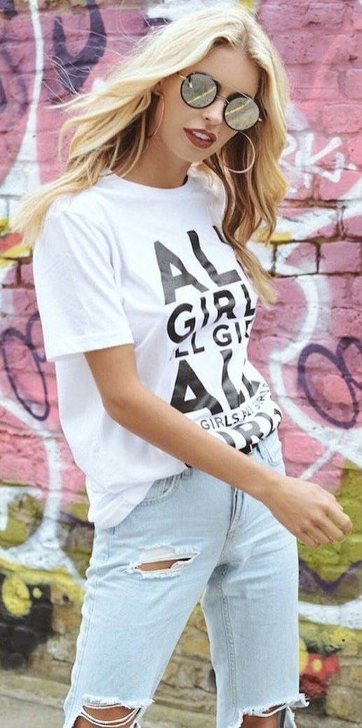 White Printed Tee + Ripped Bleached Skinny Jeans