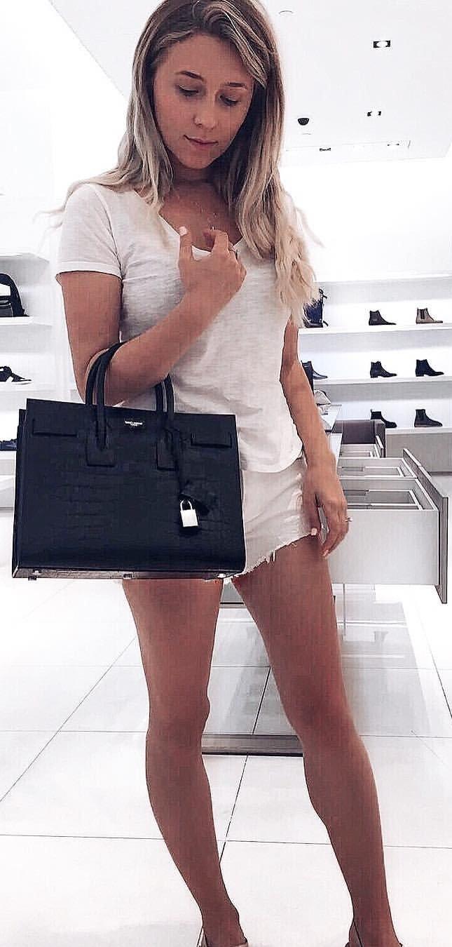 White Tee + White Denim Short + Black Leather Tote Bag