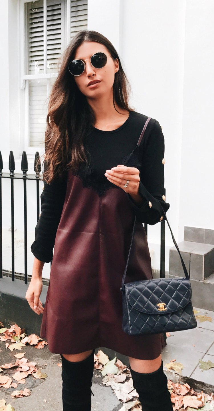 women's black and brown long sleeve dress and sling bag