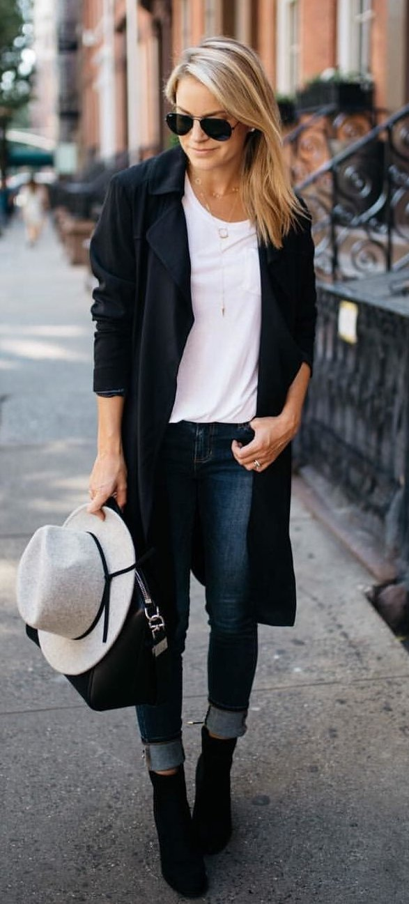 women's black cardigan and black framed aviator sunglasses