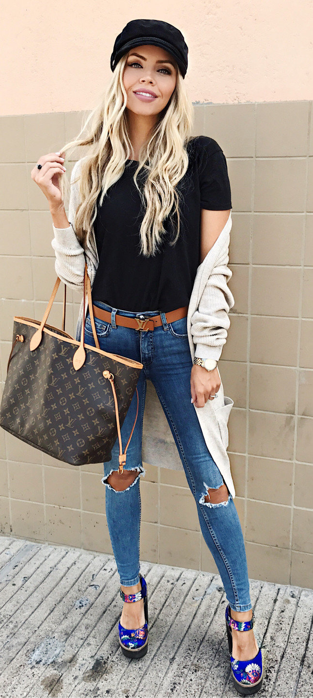 women's black shirt,brown cardigan with blue ripped jeans