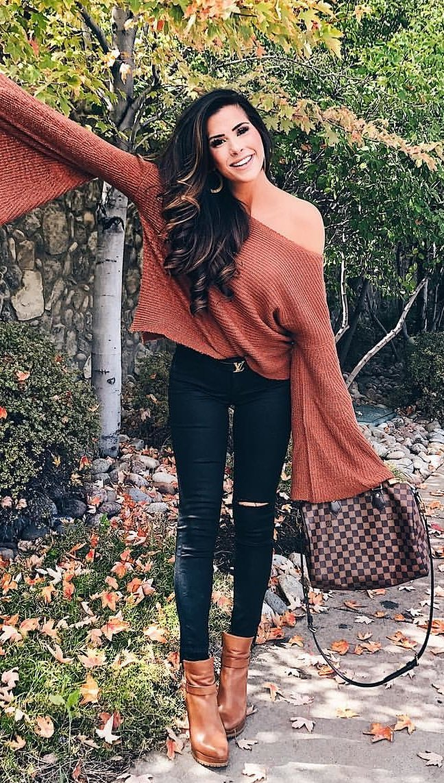 women's brown off-shoulder long-sleeved top and black denim jeans outfit