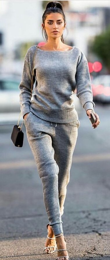women's grey boat-neck sweater and sweat pants