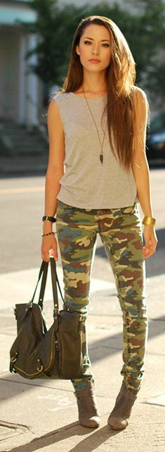 Camp Print Skinny Jeans