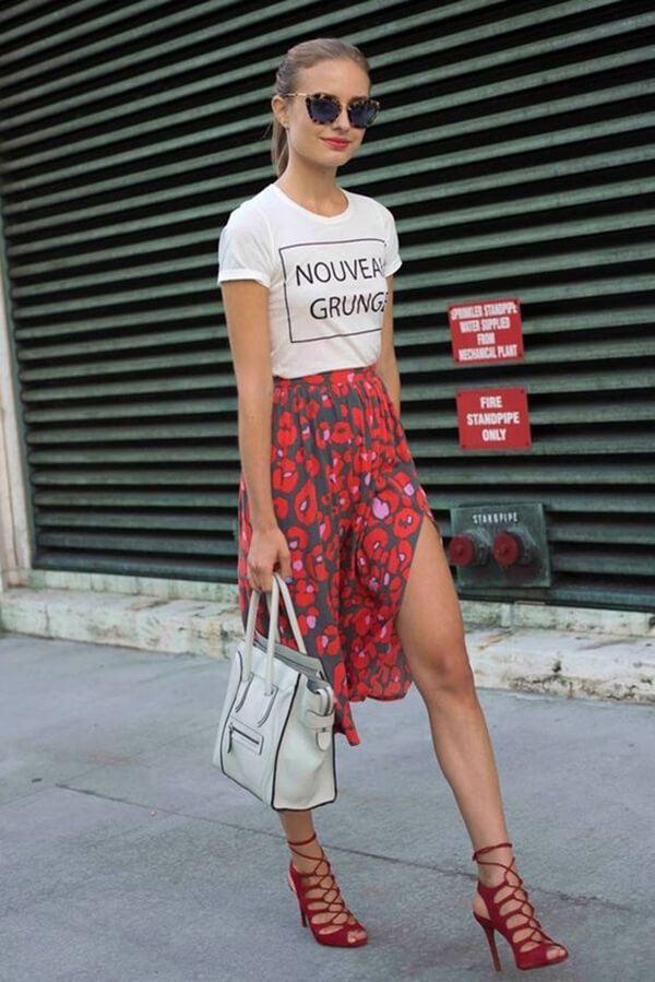 Soft, Red Midi Slit Skirt