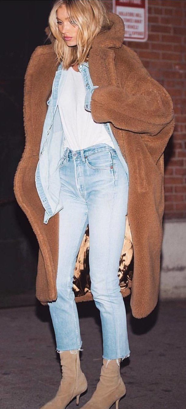 brown long cardigan, white top, blue denim jeans, and pair of brown boots outfit