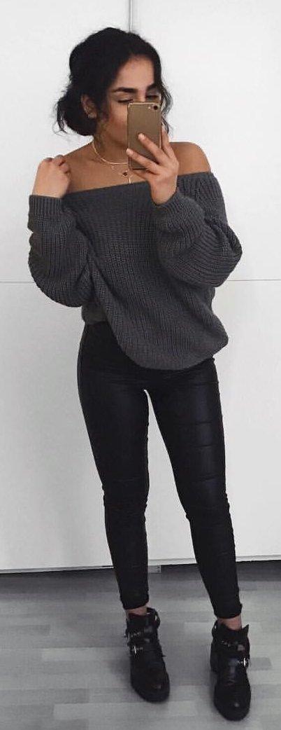gray off shoulder sweater