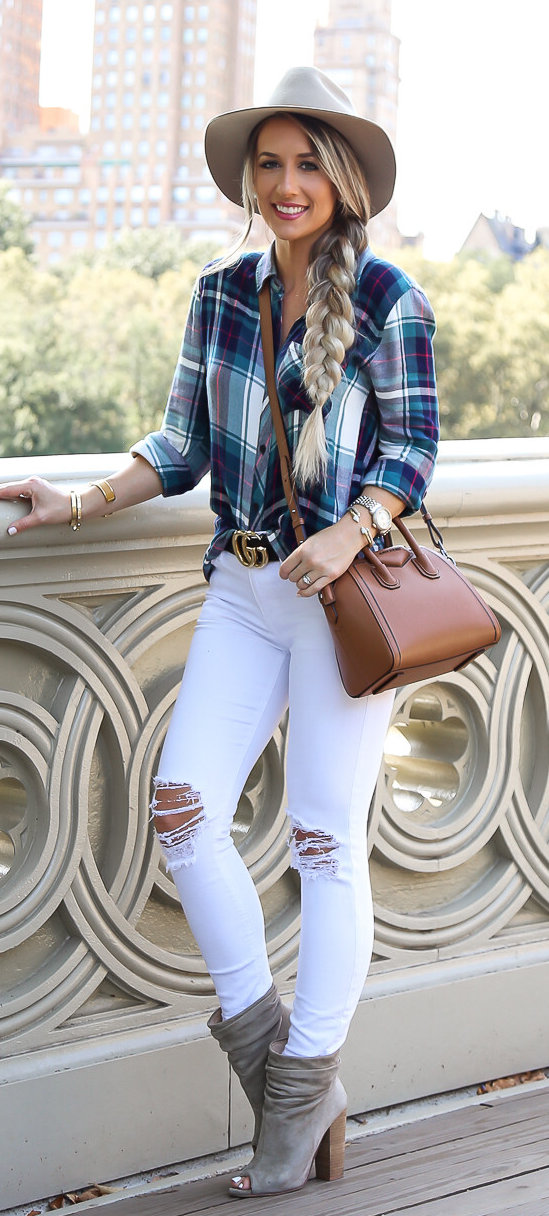 women's blue and white checkered button-up long-sleeve T-shirt with distressed white skinny pants