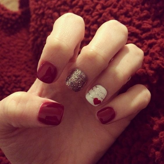 Red and White Valentines Nails.