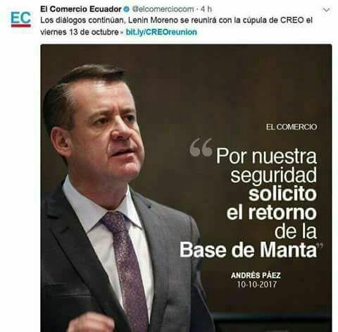 Supuesta afirmación de Andrés Páez sobre la Base de Manta