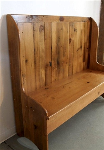 Farmhouse High Back Bench From Reclaimed Wood