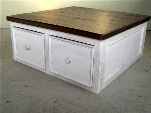 square reclaimed wood coffee table with