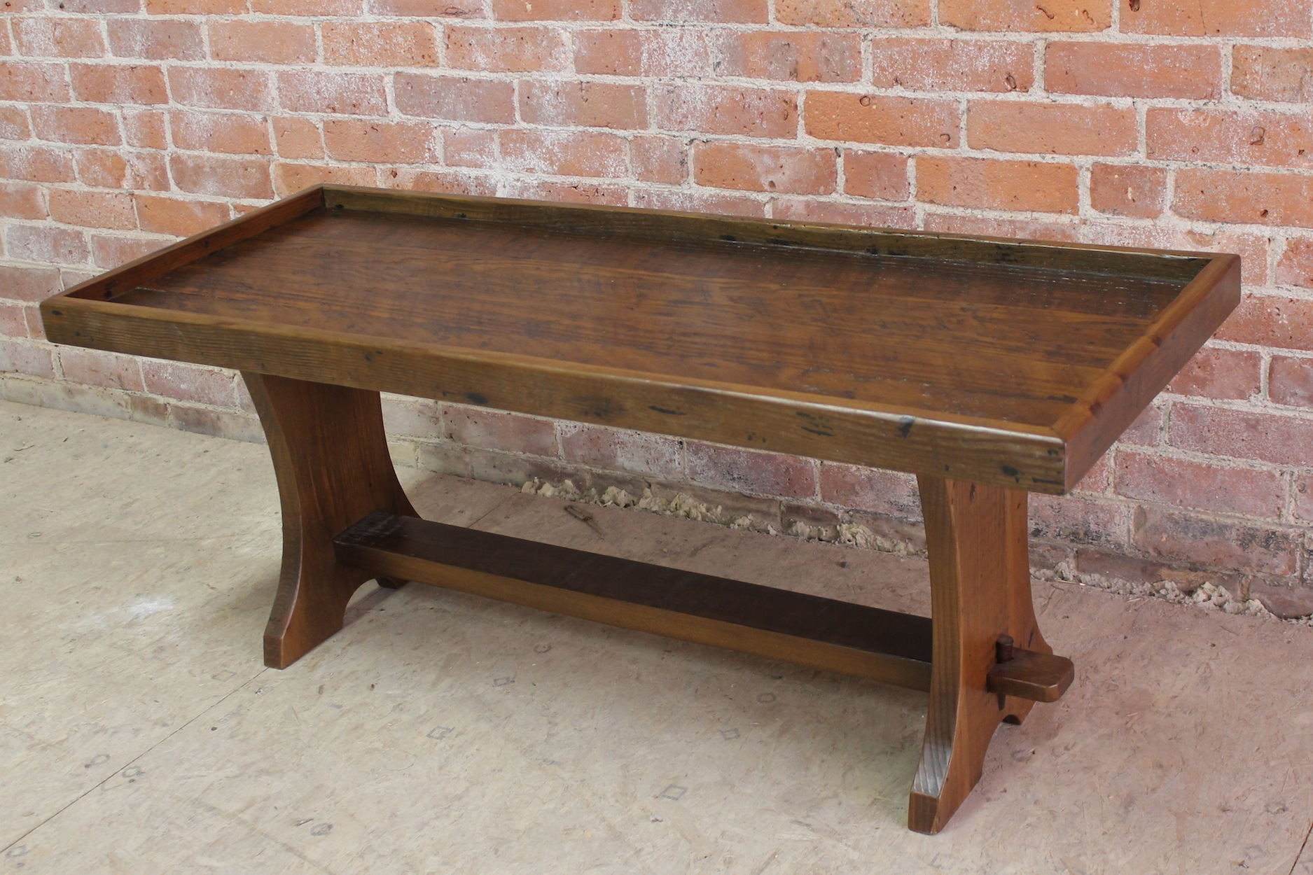 very rustic bench with lip for cushion
