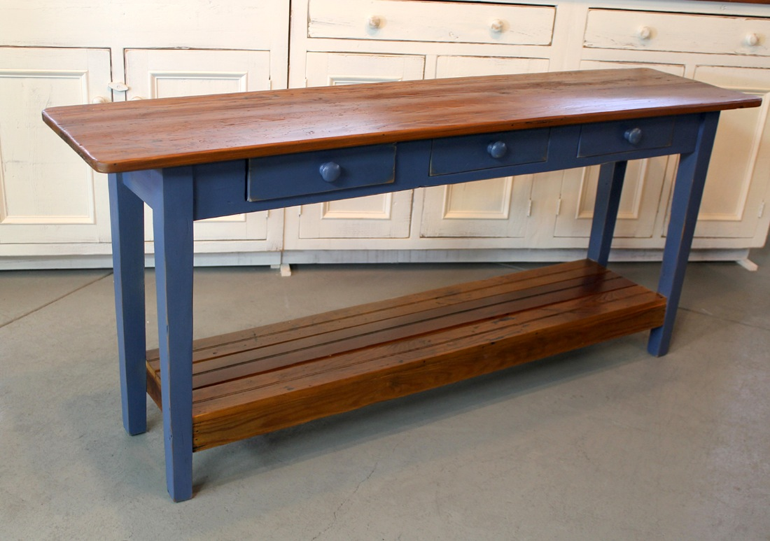Barn Wood Console Table With Slatted Shelf   ECustomFinishes