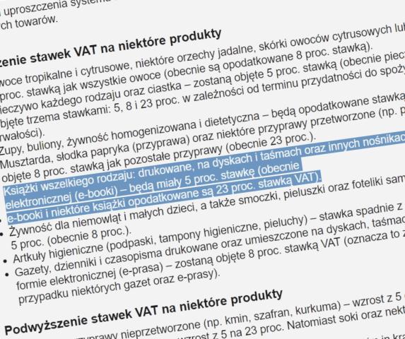 Niższy VAT na ebooki