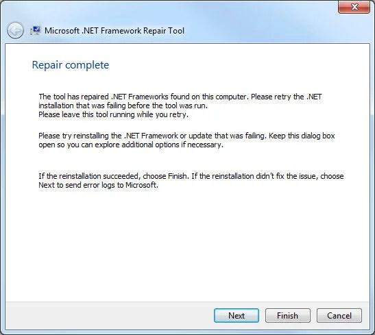 .Net Framework Repair Tool, reparación finalizada