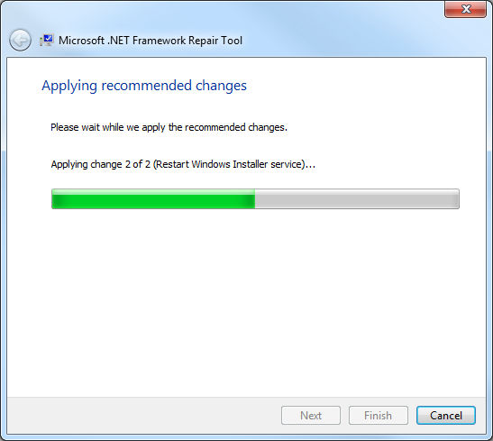 .Net Framework Repair Tool, aplicando cambios